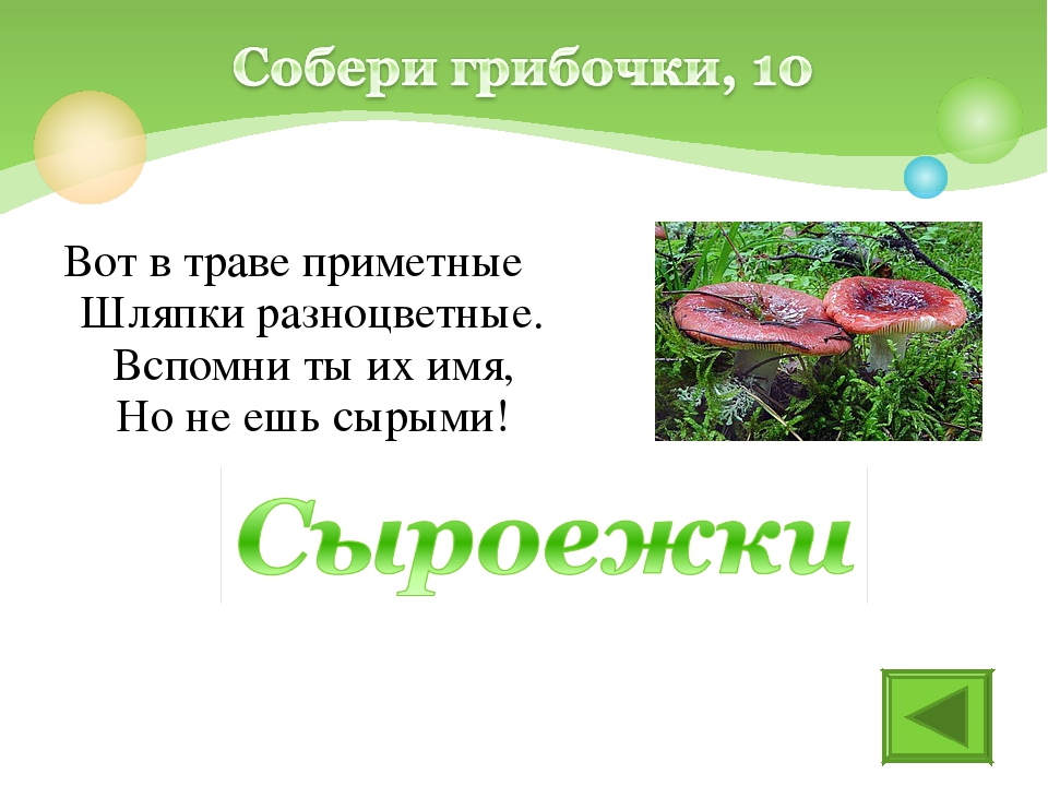 Вот в траве приметные Шляпки разноцветные. Вспомни ты их имя, Но не ешь сырыми!