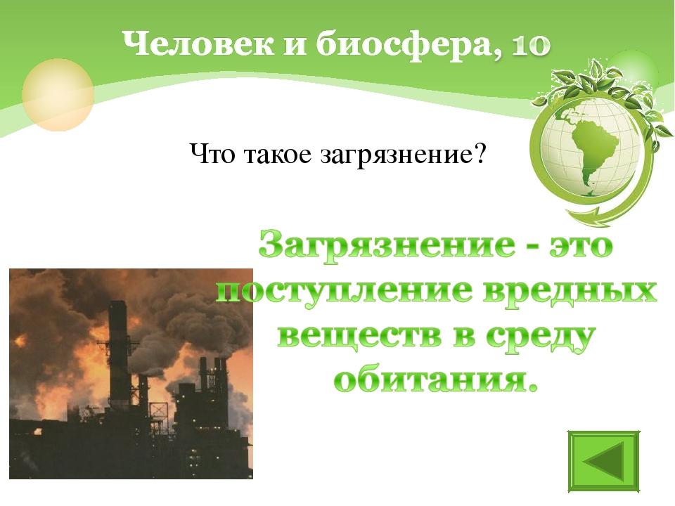 Что такое загрязнение?