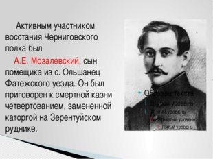 Активным участником восстания Черниговского полка был А.Е. Мозалевский, сын