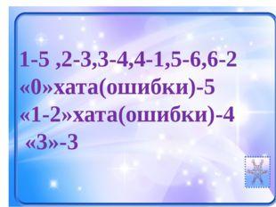 1-5 ,2-3,3-4,4-1,5-6,6-2 «0»хата(ошибки)-5 «1-2»хата(ошибки)-4 «3»-3