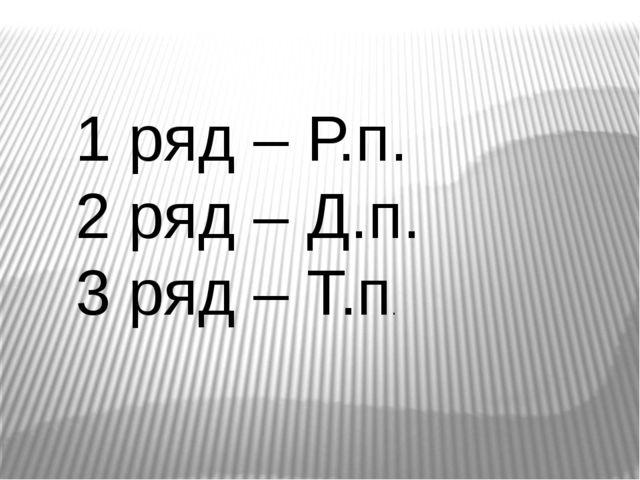 1 ряд – Р.п. 2 ряд – Д.п. 3 ряд – Т.п.