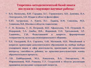 * В.А. Васильева, В.И. Гараджи, Б.С. Гершупского, 0,Н, Дамениа, В.А. Лекторск