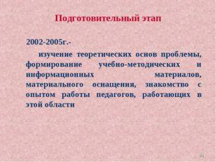 * Подготовительный этап 2002-2005г.- изучение теоретических основ проблемы, ф
