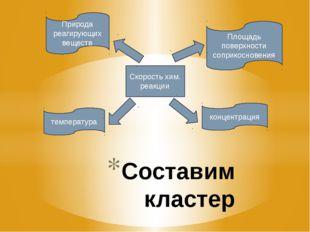 Составим кластер Скорость хим. реакции Природа реагирующих веществ Площадь по