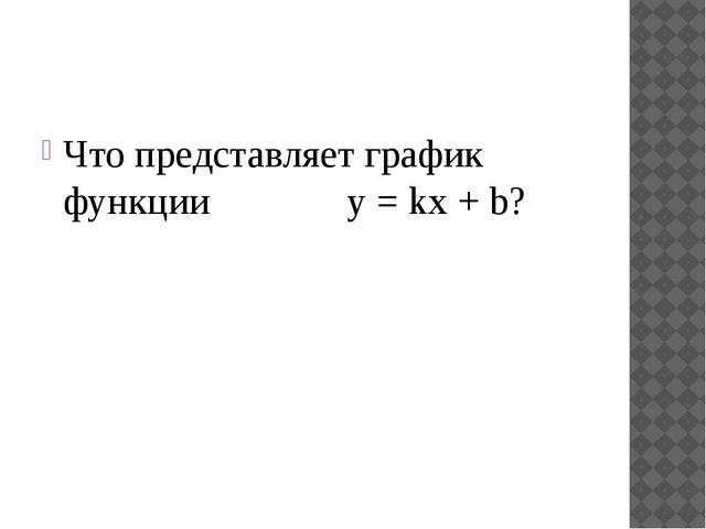 Что представляет график функции y = kx + b?
