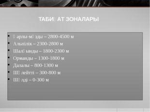 ТАБИҒАТ ЗОНАЛАРЫ Қарлы-мұзды – 2800-4500 м Альпілік – 2300-2800 м Шалғынды –