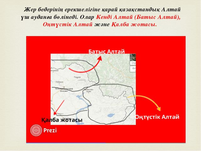 Жер бедерінің ерекшелігіне қарай қазақстандық Алтай үш ауданға бөлінеді. Ола...