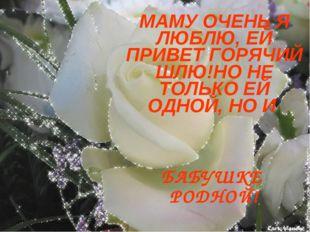 МАМУ ОЧЕНЬ Я ЛЮБЛЮ, ЕЙ ПРИВЕТ ГОРЯЧИЙ ШЛЮ!НО НЕ ТОЛЬКО ЕЙ ОДНОЙ, НО И БАБУШКЕ