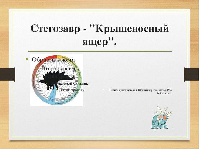 """Стегозавр - """"Крышеносный ящер"""". Период существования: Юрский период - около 1..."""