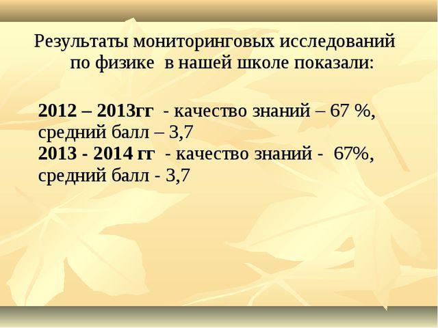 Результаты мониторинговых исследований по физике в нашей школе показали: 2012...