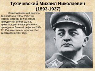 Тухачевский Михаил Николаевич (1893-1937) Советскийвоенный деятель, военачал