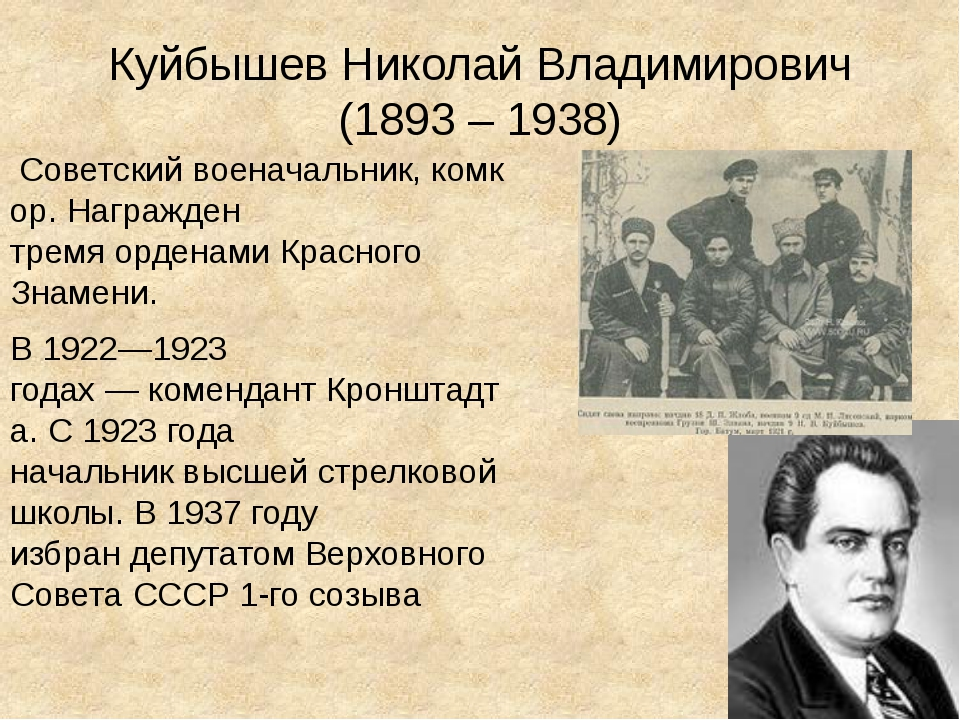 Куйбышев Николай Владимирович (1893 – 1938) Советскийвоеначальник,комкор....