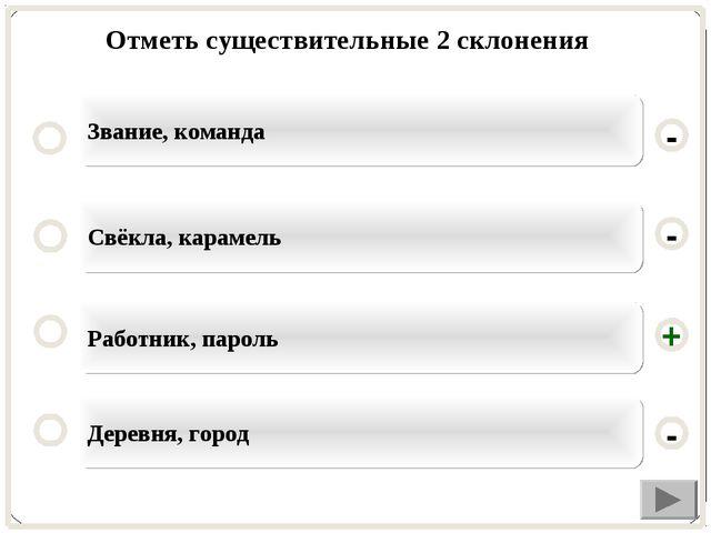 Отметь существительные 2 склонения Работник, пароль Свёкла, карамель Деревня,...