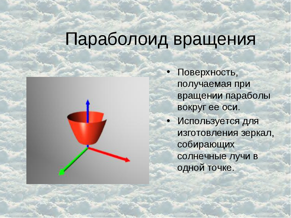Параболоид вращения Поверхность, получаемая при вращении параболы вокруг ее о...