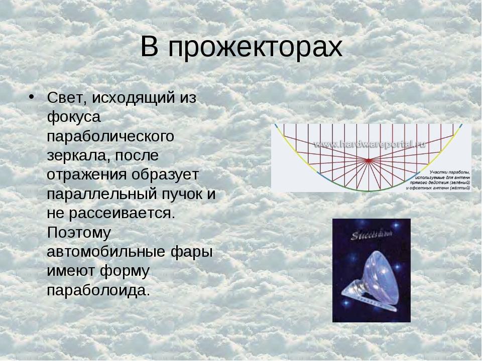 В прожекторах Свет, исходящий из фокуса параболического зеркала, после отраже...