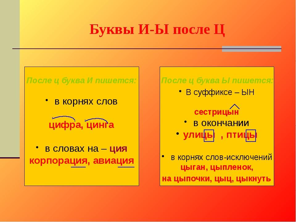 Буквы И-Ы после Ц в корнях слов цифра, цинга в словах на – ция корпорация, ав...