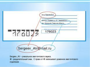 Sergeev_AV@mail.ru Sergeev_AV – уникальное имя почтового ящика. @ - разделите
