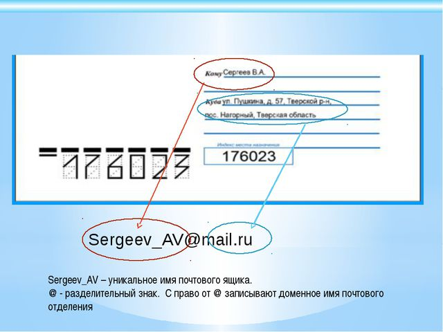 Sergeev_AV@mail.ru Sergeev_AV – уникальное имя почтового ящика. @ - разделите...