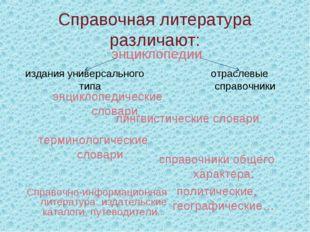 Справочная литература различают: энциклопедии энциклопедические словари издан