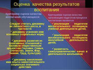 Оценка качества результатов воспитания Критерием оценки качества воспитания о
