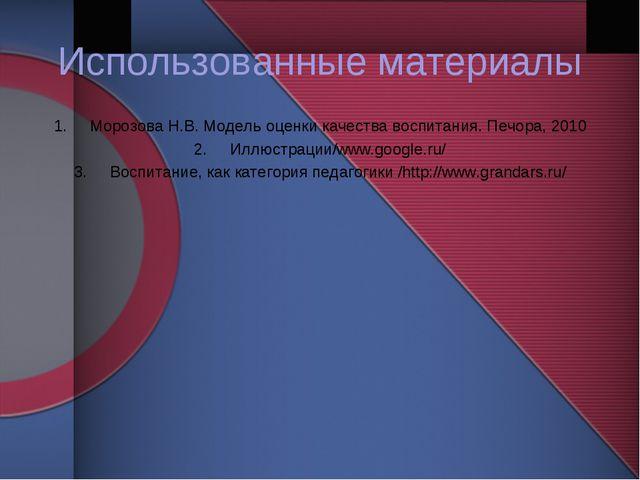 Использованные материалы Морозова Н.В. Модель оценки качества воспитания. Печ...