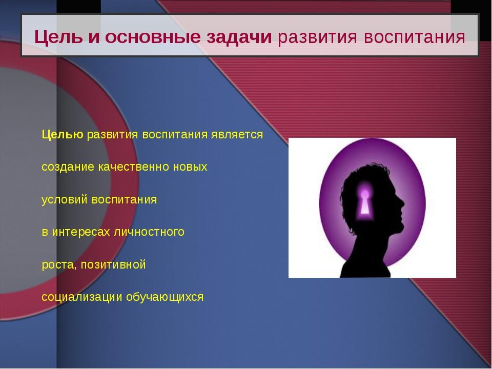 Целью развития воспитания является создание качественно новых условий воспит...