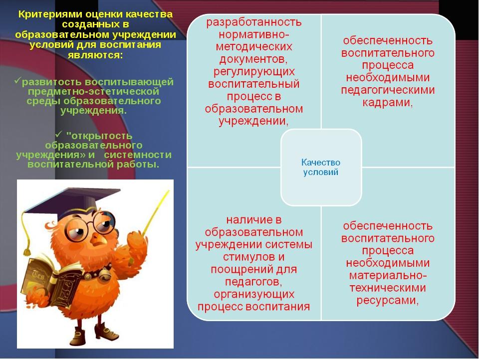Критериями оценки качества созданных в образовательном учреждении условий для...