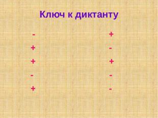 Ключ к диктанту - + + - + + - - + -