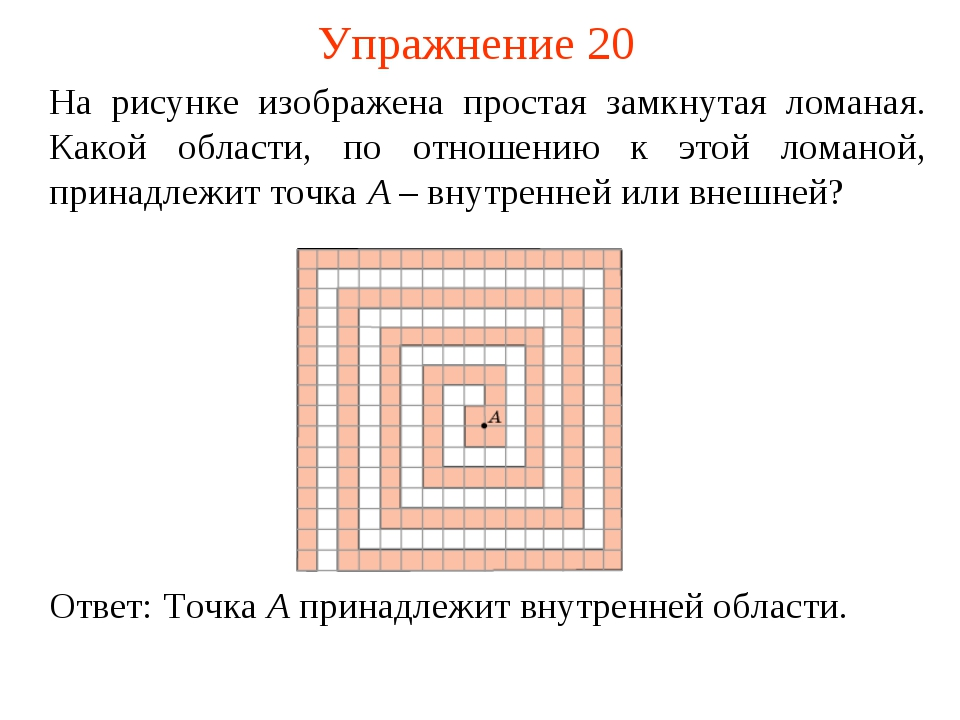 Упражнение 20 На рисунке изображена простая замкнутая ломаная. Какой области,...