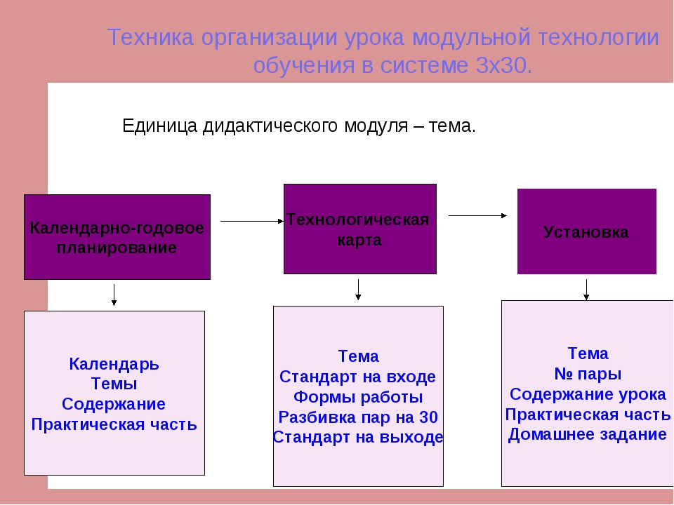 Техника организации урока модульной технологии обучения в системе 3х30. Едини...