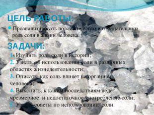 ЦЕЛЬ РАБОТЫ: Проанализировать положительную и отрицательную роль соли в жизни