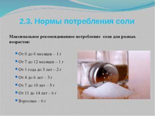 2.3. Нормы потребления соли Максимальное рекомендованное потребление соли для