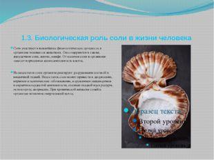 1.3. Биологическая роль соли в жизни человека Соль участвует в важнейших физ