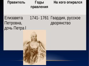 ПравительГоды правленияНа кого опирался Елизавета Петровна, дочь Петра l17