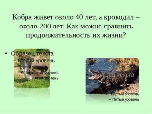 Кобра живет около 40 лет, а крокодил – около 200 лет. Как можно сравнить прод