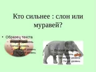 Кто сильнее : слон или муравей?