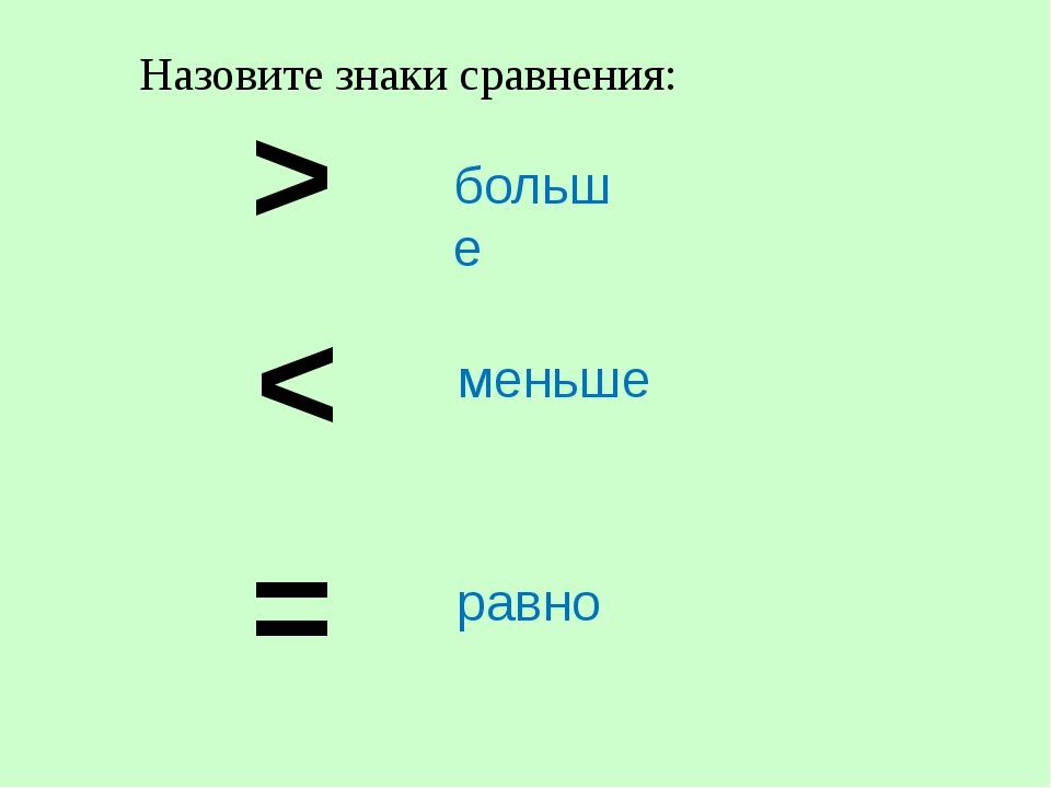 > < = больше меньше равно Назовите знаки сравнения: