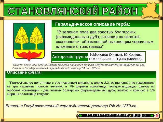 """Геральдическое описание герба: """"В зеленом поле два золотых болгарских (пира..."""