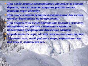 При сходе лавины постарайтесь укрыться за скалой, деревом, лечь на землю, защ