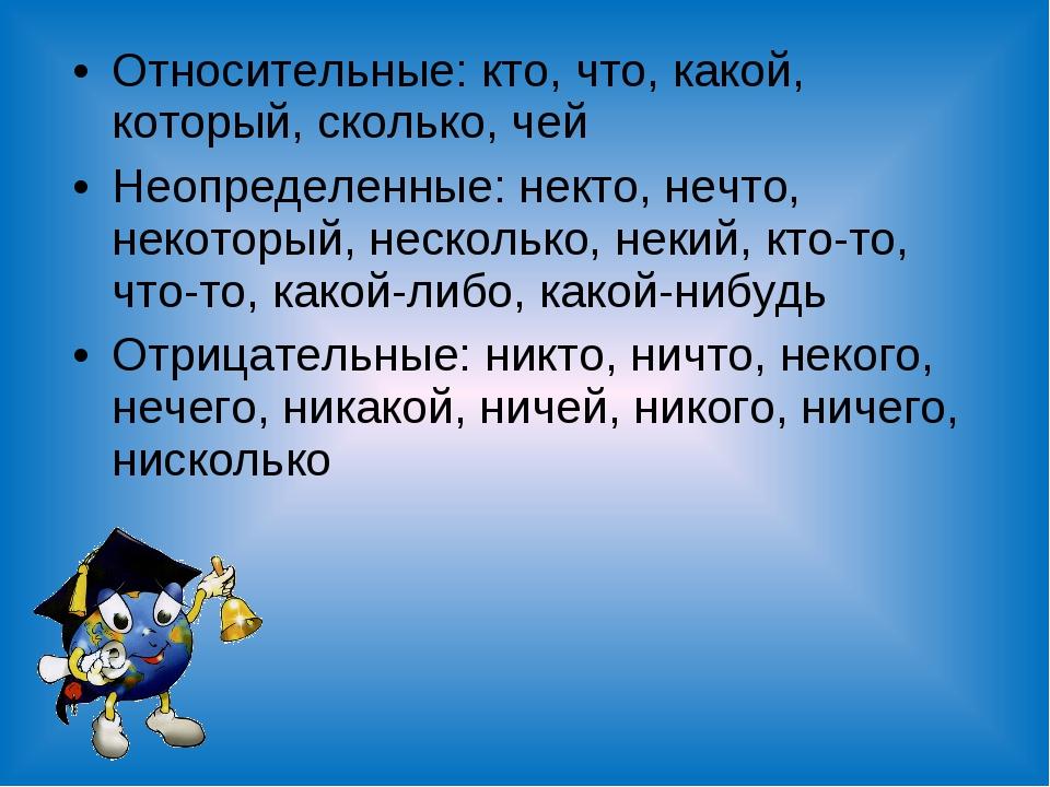 Относительные: кто, что, какой, который, сколько, чей Неопределенные: некто,...