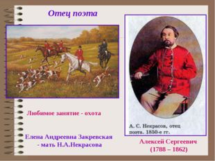 Отец поэта Алексей Сергеевич (1788 – 1862) Любимое занятие - охота Елена Андр