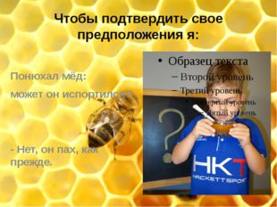 Чтобы подтвердить свое предположения я: Понюхал мёд: может он испортился? - Н