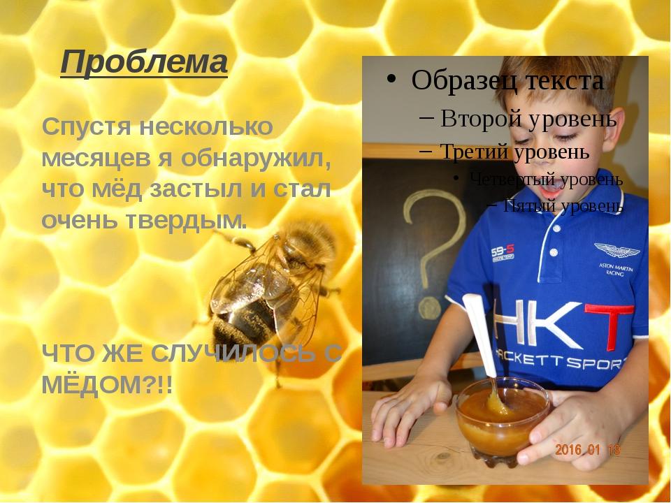 Проблема Спустя несколько месяцев я обнаружил, что мёд застыл и стал очень тв...