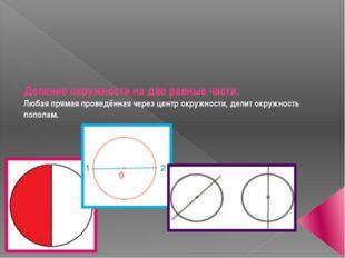 Деление окружности на две равные части. Любая прямая проведённая через центр