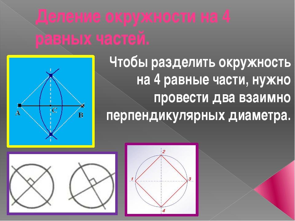 Деление окружности на 4 равных частей. Чтобы разделить окружность на 4 равные...