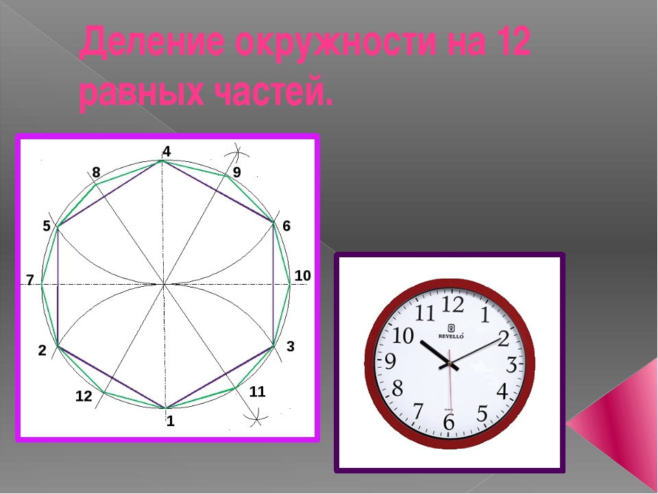 Деление окружности на 12 равных частей.
