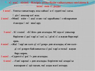 «Қазақ тілінің білгірі» атты білім сайысымыз негізінен 6 кезеңнен тұрады 1 ке
