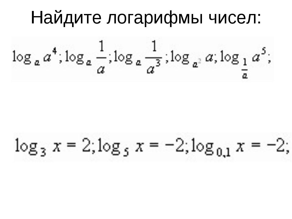 Найдите логарифмы чисел: