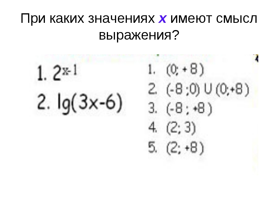 При каких значениях х имеют смысл выражения?