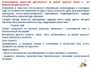 Использование проектной деятельности на уроках русского языка и во внеурочной